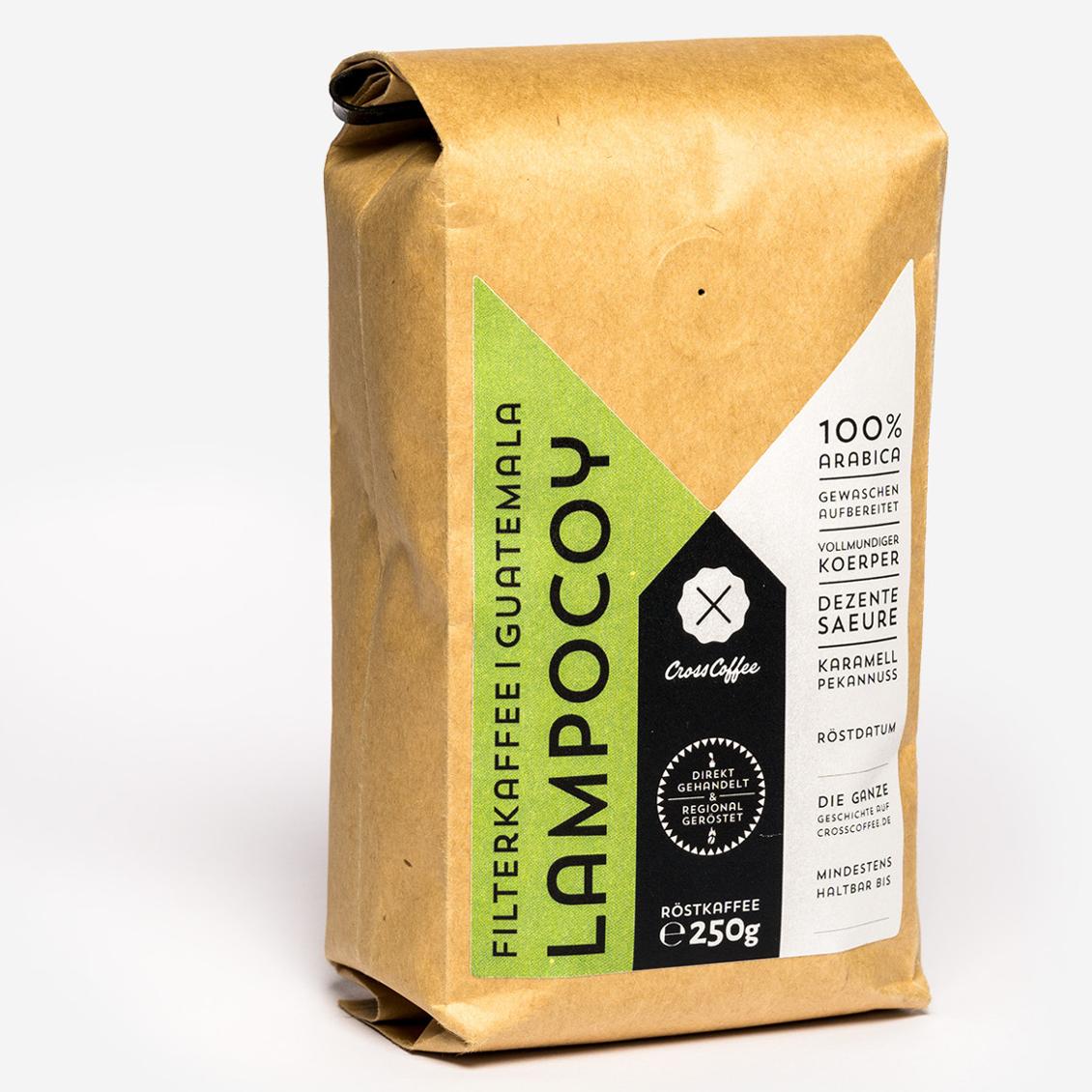 Produktfoto Lampocoy, Filterkaffee aus Guatemala. Geröstet von der Kaffeerösterei Cross Coffee aus Bremen