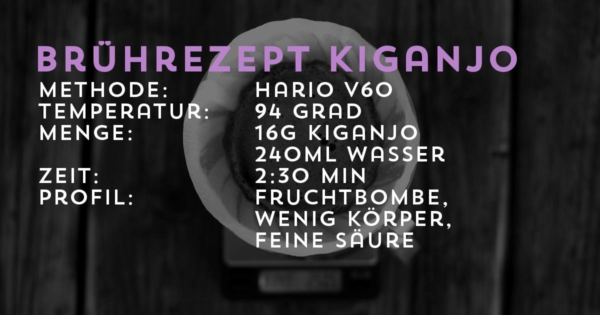 Brührezept KIGANJO Filterkaffee, Hario V60 | Transparent gehandelt von der Kaffeerösterei Cross Cofee aus Bremen