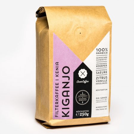 Produktfoto KIGANJO Filterkaffee. Kaffee aus Kenia. Geröstet von der Kaffeerösterei Cross Coffee in Bremen.