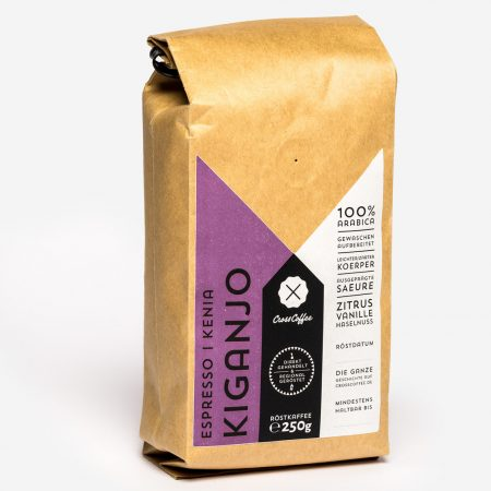 Kiganjo Espresso. Kaffee aus Kenia. Geröstet bei der Kaffeerösterei Cross Coffee in Bremen