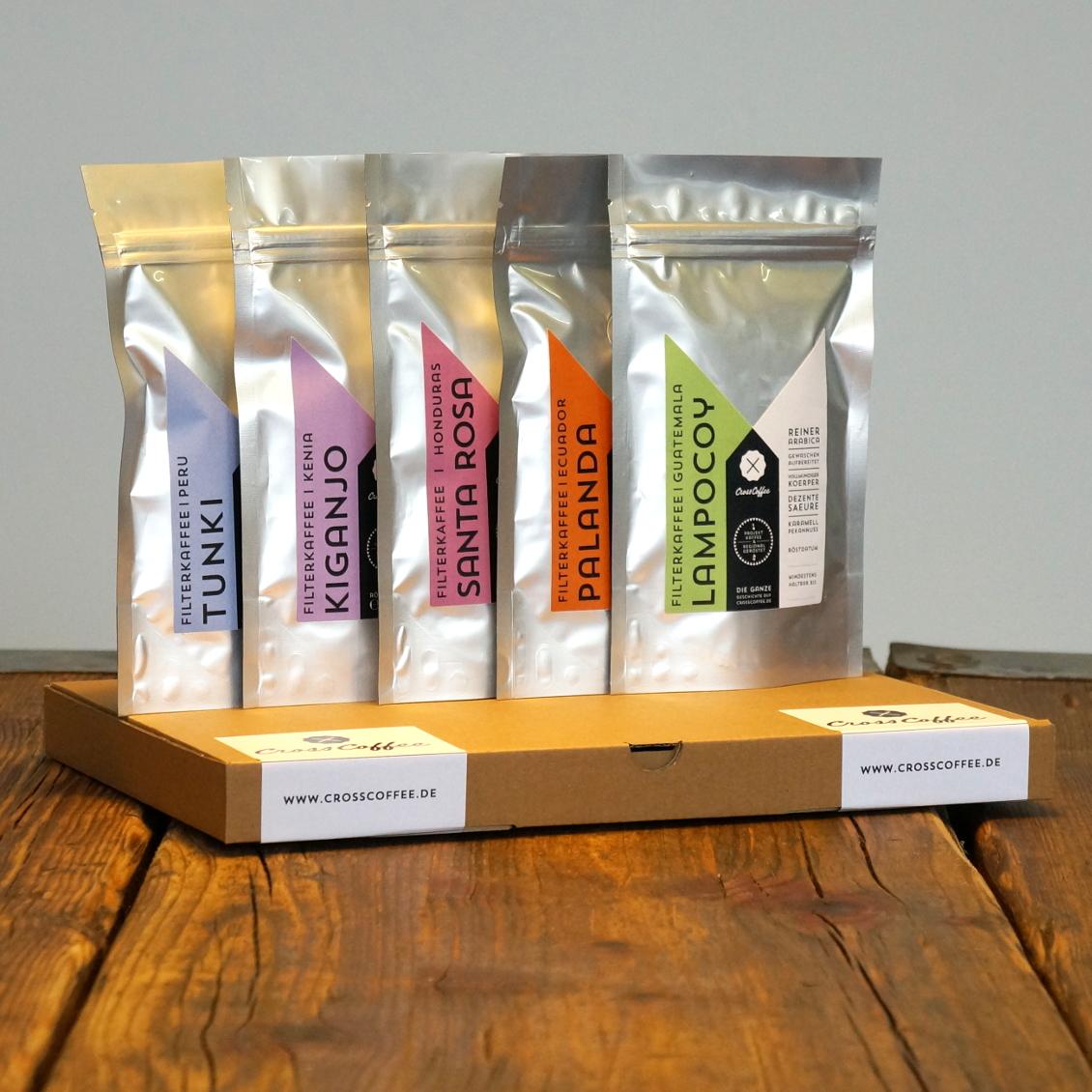 Probierpaket Filterkaffee. Eine Auswahl von 5 Kaffees, geröstet von der Kaffeerösterei Cross Coffee in Bremen