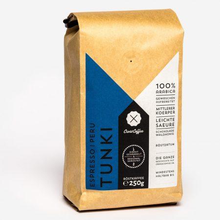 Tunki Espresso, Kaffee aus Peru. Geröstet in der Kaffeerösterei Cross Coffee in Bremen