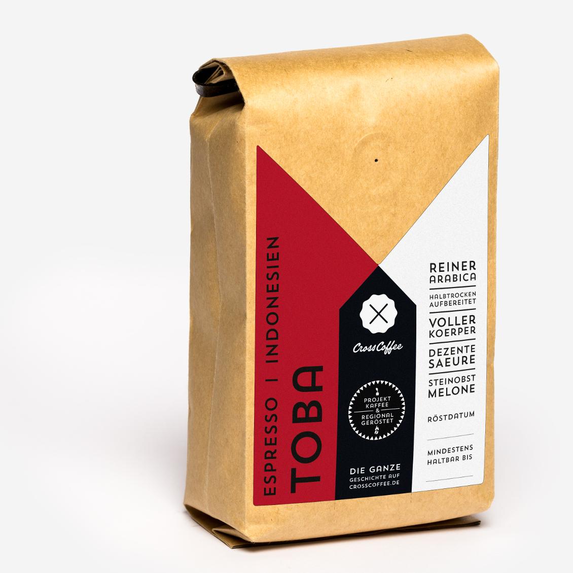Produktfoto Espresso TOBA, Sumatra, Kaffee geröstet von der Kaffeerösterei Cross Coffee aus Bremen
