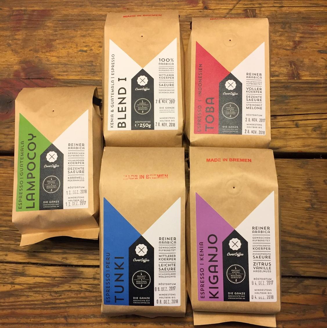 5-Freunde Espresso | Probepaket Espresso, Weihnachtsangebot der Kaffeerösterei Cross Coffee aus Bremen
