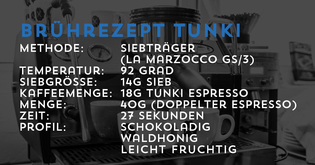 Brührezept Tunki Espresso aus Peru | Transparent gehandelt von der Kaffeerösterei Cross Cofee aus Bremen
